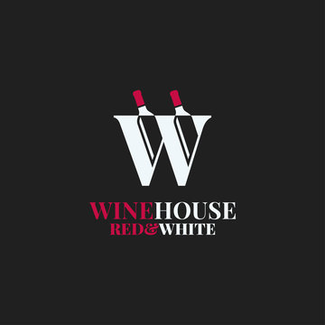 Wine bottles logo. Letter W of red and white wine