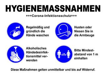 Stores à enrouleur Pierre, Sable ds34 DiskretionSchild - german sign: Hygienemassnahmen / Corona Infektionsschutz - Gebotszeichen: Desinfektionssymbol - Abstand halten - Armbeuge - Hände waschen / desinfizieren. DIN A1 A2 A3 A4 g9242