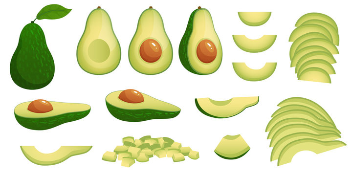 Cartoon avocado. Ripe avocados fruits, healthy nutritious natural food and avocado slices vector illustration set. Avocado green, tropical healthy nutrition, health food exotic