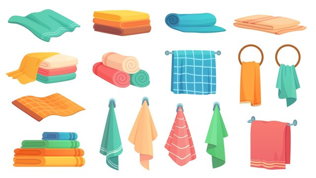 Bath towels. Cartoon fabric towel hanging on ring, rolled color cloth towels and folded towel vector illustration set. Towel bath for hygiene, bathroom textile