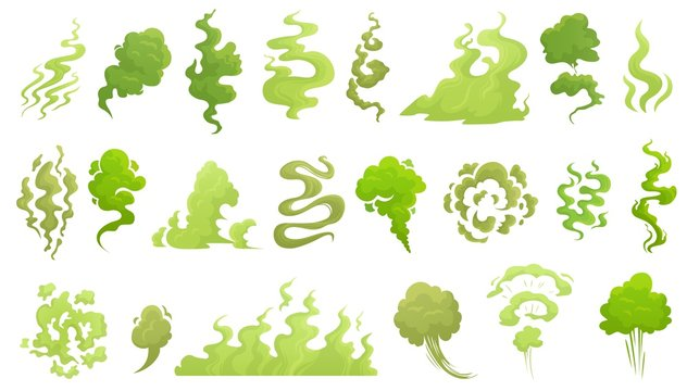 Smelling smoke. Bad smell cloud, green stink aroma and stinky smoke cartoon vector illustrartion set. Smell cloud and stink toxic, aroma stench