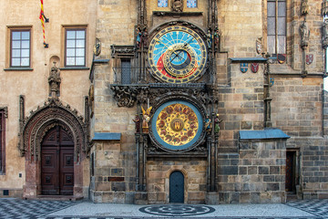 View of Astronomical clock in Old Town of Prague city.