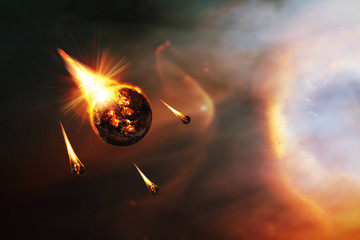 Apocalyptic abstract background with a burning planet . Elements of this image furnished by NASA.