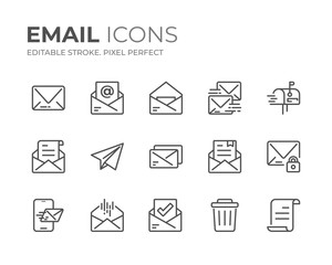 Email Line Icons Set