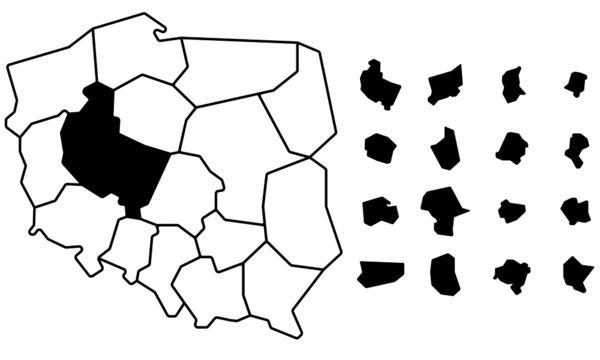 mapa polski województw prosta ideowa wojewodztwa