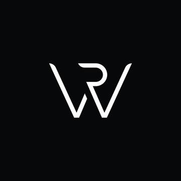 Minimal elegant monogram art logo. Outstanding professional trendy awesome artistic WR RW initial based Alphabet icon logo. Premium Business logo White color on black background