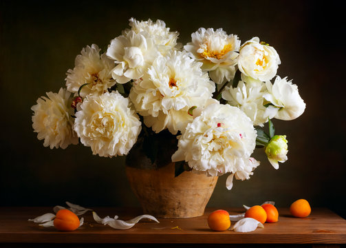 Still life with peonies and apricots