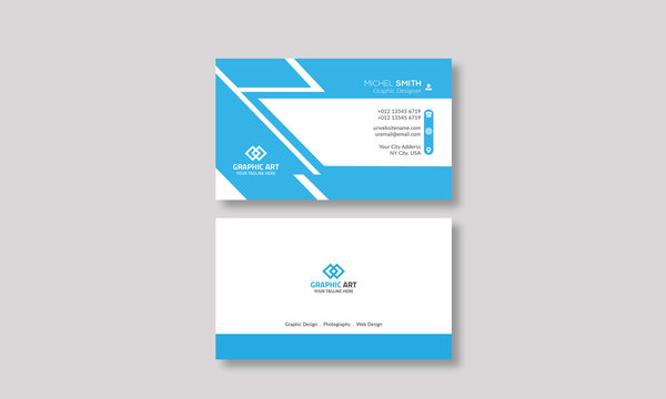 Modern Corporate Business Card Template layout Design On Cyans