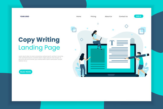 Creative copy writing landing page website template. Landing page template
