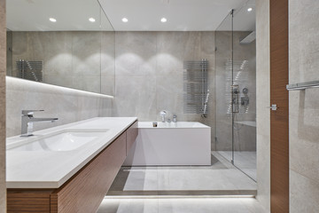 modern bathroom with mirror, bathtub and shower