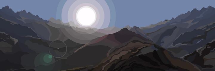 Printed kitchen splashbacks Gray traffic Background of highlands illuminated by bright sun with sun flare effect