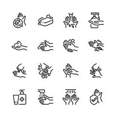 Hygiene thin line icon set 3, vector eps10.