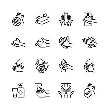 Hygiene thin line icon set 3, vector eps10.