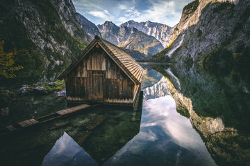 Obersee next to Koenigssee in Berchtesgaden, Bavaria, Germany