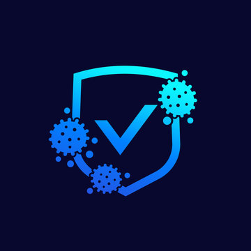 antibacterial protection icon, shield and virus vector