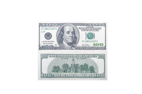 Front and back side of a 100 US dollar bill with a portrait of American President Benjamin Franklin on an isolated white background