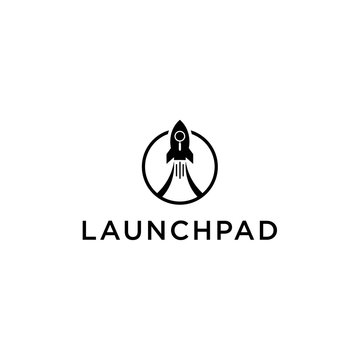 rocket launch logo design vector image with circle and creative
