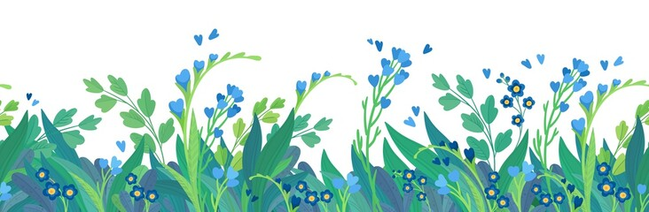 Floral  flat vector template horizontal background. Blue wildflowers blank border design. Cornflowers and daisy blossoms cartoon decor element Fotobehang