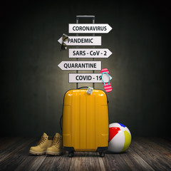Coronavirus crisis in travel and tourism industry concept.  Suitcase and arrows with  travel directions closed due to pandemic.