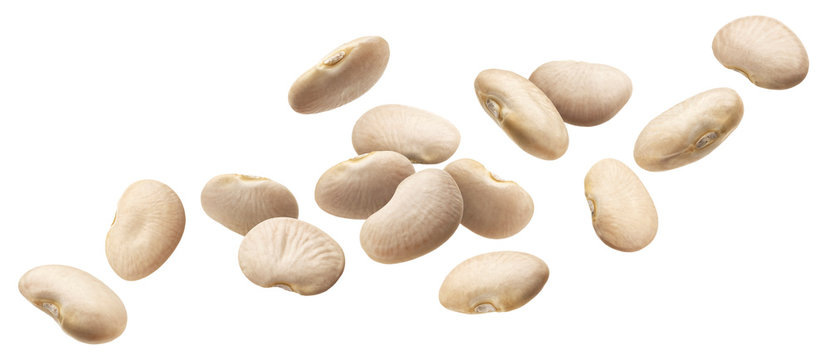 Falling beans collection isolated on white background