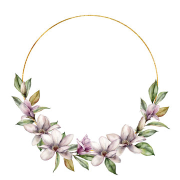 Watercolor golden wreath with magnolia. Hand painted flowers and leaves composition isolated on white background. Holiday floral illustration for design, print, fabric or background.