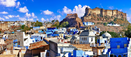 Travel and landmarks of India. beautiful blue city of Rajastan - Jodhpur. view with Mehrangarh fort