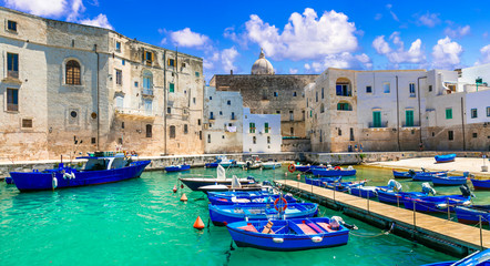 Traditional Italy - white town Monopoli with colorful fishinng boats. Puglia, Italy Fotomurales