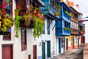 Beautiful colorful floral streets with traditional balconies of Santa Cruz de la Palma - capital of La Palma island, Canary islands of Spain
