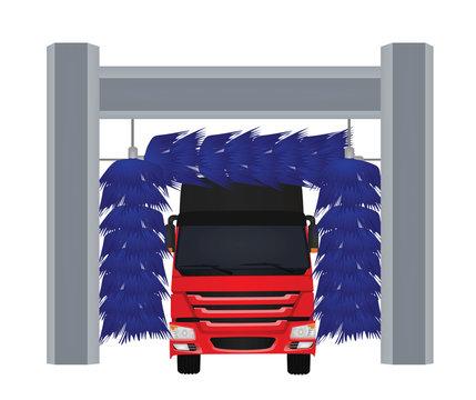 Automatic car wash. vector illustration