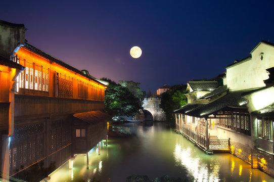 wuzhen water town full moon, bridge and buildings night view china