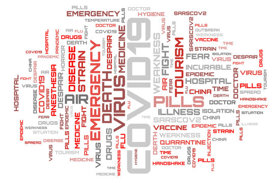 COVID-19 red word cloud concept illustration. Red word cloud isolated on white background