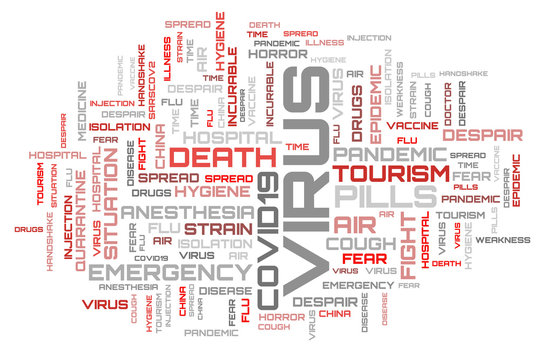 Abstract red word cloud background. COVID-19 virus background