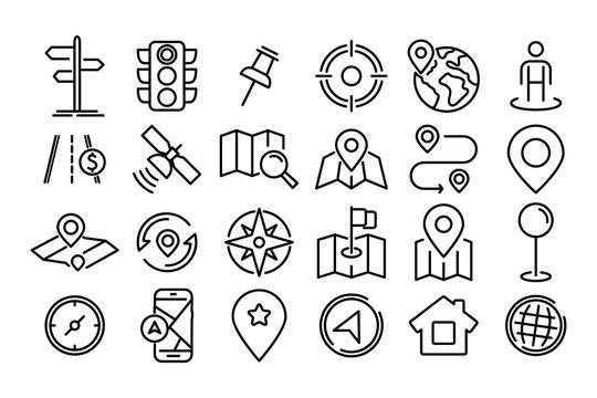 Navigation and Map icon set. Map pin and Location, Route map, Navigation, Direction and more. Simple Set of World Map, Office Location, Traffic Light, Compass line Icons