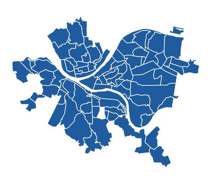 Outline blue map of Pittsburgh