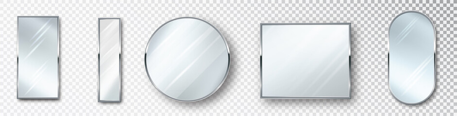 Mirrors set of different shapes isolated. Realistic mirror frame, white mirrors template. Realistic design for interior furniture. Reflecting glass surfaces isolated