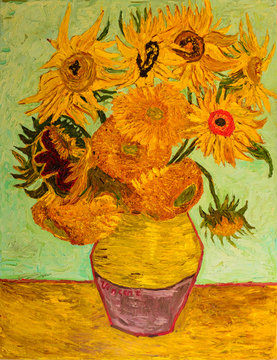 "Oil painting. Reproduction: ""Sunflowers"" Vincent Van Gogh. Oil on canvas 70 x 90 cm"