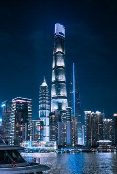 Aerial photo of night view of Shanghai, China