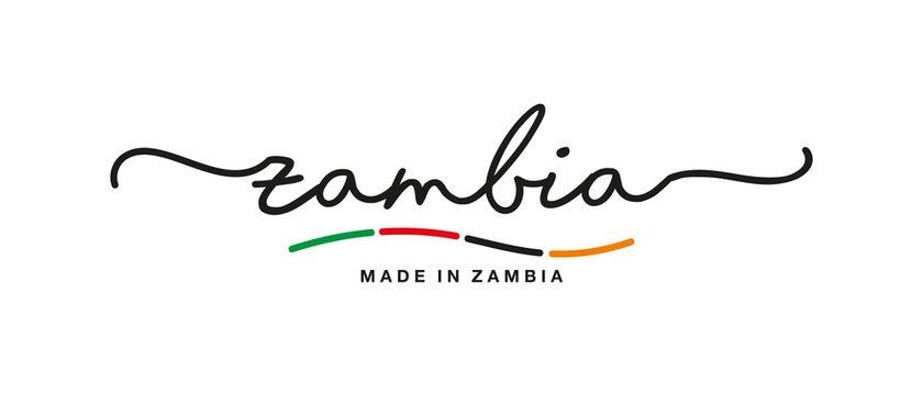 Made in Zambia handwritten calligraphic lettering logo sticker flag ribbon banner