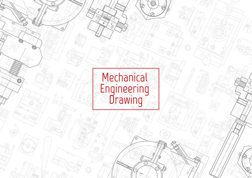 Engineering backgrounds. Mechanical engineering drawings. Cover. Banner. Technical Design. Draft.