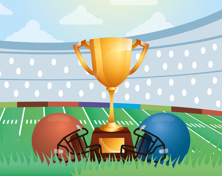 superbowl sport poster with trophy and helmets