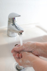 Thorough hand washing with water and soap, important infection prevention against contagious disease like coronavirus, copy space