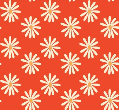 red and mustard 1970's groovy vintage retro floral daisies seamless vector pattern