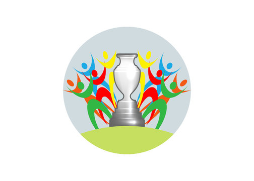 Football cup icon. Sports trophy concept, logo graphic design, vector isolated on white background