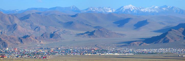 Fototapete - Panoramic view of Bayan Ulgiy, western Mongolia. Traveling in Asia.
