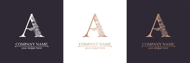 Letter A logo or monogram. For your business. Vector sign. Floral style, beautiful roses. Personal logo.