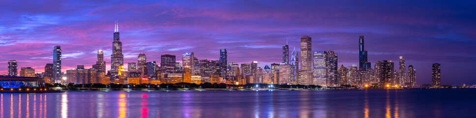 Chicago downtown buildings skyline evening sunset dusk