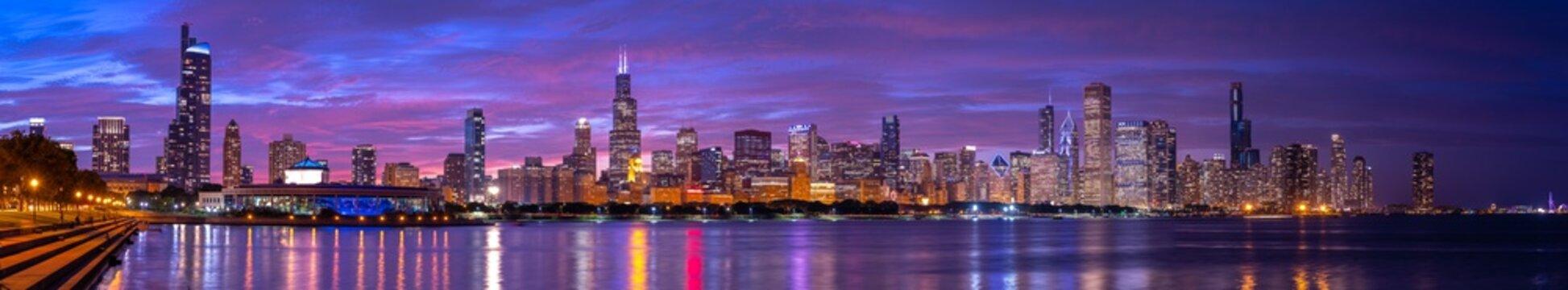 Chicago downtown buildings skyline evening sunset dusk