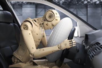 Obraz crash tesh dummy in car - fototapety do salonu