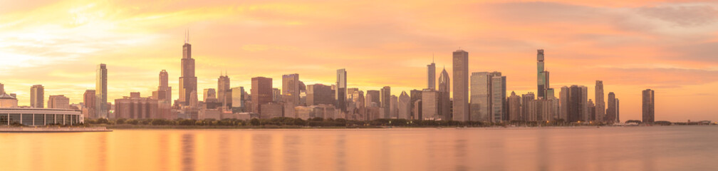 Wall Mural - Chicago downtown buildings skyline sunset