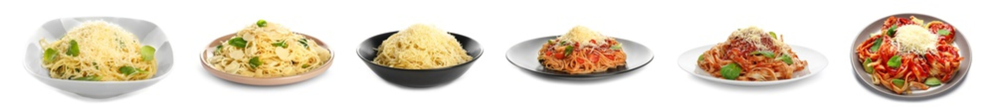 Tasty pasta with Parmesan cheese on white background
